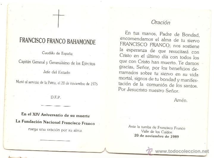 Postales: Fundación Francisco Franco. Esquela de 1989 - Foto 2 - 44245511