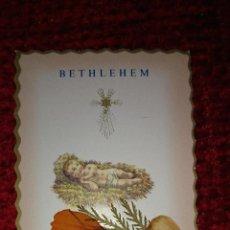 Postales: ESTAMPA ESTAMPITA RELIGIOSA DE BELEN CON FLORES DE TIERRA SANTA. Lote 45161613