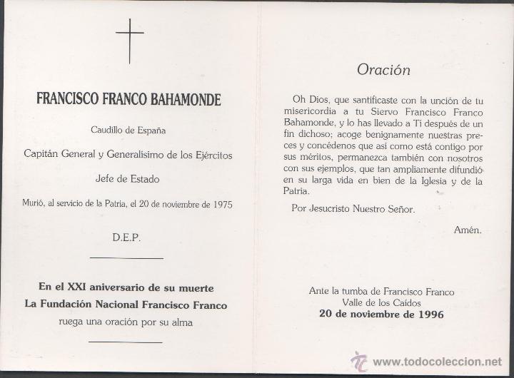 Postales: C9-20 FRANCO - Recordatorio en el XXI Aniversario de su muerte - Ante la tumba de Francisco Franco - - Foto 2 - 45208388