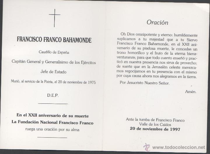 Postales: C9-20 FRANCO - Recordatorio en el XXII Aniversario de su muerte - Ante la tumba de Francisco Franco - Foto 2 - 45208514