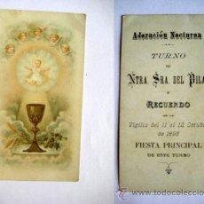 Postales: ANTIGUA ESTAMPA RELIGIOSA : ADORACIÓN NOCTURNA, TURNO DE NTRA SRA DEL PILAR. 1895. Lote 45792096