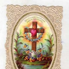 Postales: ESTAMPA RELIGIOSA CALADA, PUNTILLA. EL CORAZÓN DE JESUS. 10 X 6,50 CM . Lote 45847623