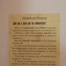 Postales: BONITA POSTAL RELIGIOSA. CAMPAÑA PRO SEMINARIO. MATARO. Lote 45901417