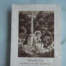 Postales: ESTAMPA ANTIGUA *NIÑO JESÚS Y GORRIONES. 100 DÍAS DE INDULGENCIA* ORIGINAL AÑOS ' 50.. Lote 45939474