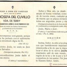 Postales: ER - 41 RECORDATORIO MORTUORIO FAMILIA TERRY 1932. Lote 46181103