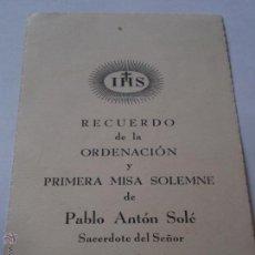 Cartoline: RECUERO ORDENACION Y PRIMERA MISA.PABLO ANTON SOLE.PARROQUIA SAN ANTONIO.CADIZ.1960. Lote 46392481
