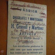 Postales: ANTIGUA ESTAMPA RELIGIOSA DELA VIRGEN PUBLICIDAD CHOCOLATES Y MANTECADAS H. GRANELL MARTIEZ ASTORGA. Lote 46627993