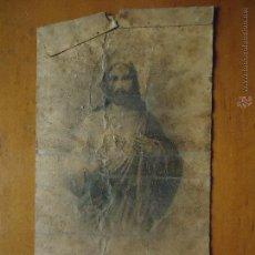 Postales: ANTIGUA ESTAMPA RELIGIOSA CRISTO SAGRADO CORAZON DE JESUS. Lote 46628683