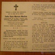 Postales: BONITO RECORDATORIO DE DIFUNTOS. MADRID 1954. Lote 47052363