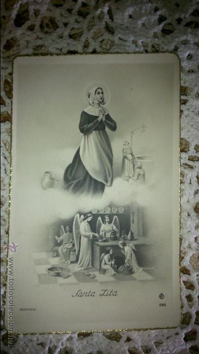 POSTAL RELIGIOSA ANTIGUA A ESTRENAR DE SANTA LITA / MB 886 BAÑERES (Postales - Postales Temáticas - Religiosas y Recordatorios)