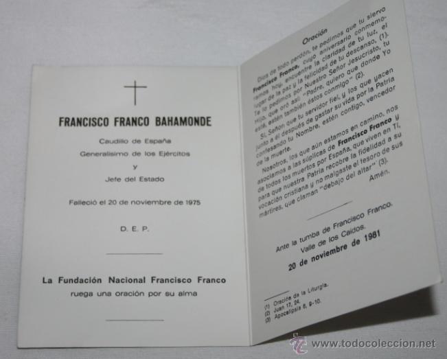 Postales: RECORDATORIO DE LA MUERTE DE FRANCO DE LA FUNDACION NACIONAL FRANCISCO FRANCO, ANTE LA TUMBA EN 1981 - Foto 2 - 47181540