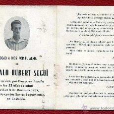 Postales: RECORDATORIO GONZALO RUBERT SEGUÍ 1939 - MÁRTIR GUERRA CIVIL. Lote 47371821