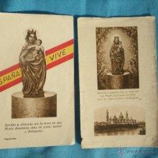 Postales: LOTE DE 2 ESTAMPAS RELIGIOSAS ANTIGUAS DE LA VIRGEN EL PILAR , Y SANTA BARBARA , PATRONA ARTILLERIA . Lote 47428906