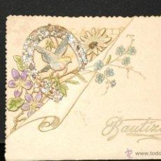 Postales: ANTIGUO RECORDATORIO DE BAUTIZO TROQUELADO AÑO 1896. Lote 47553555