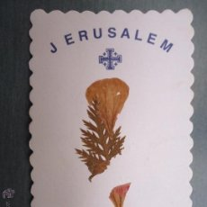 Postales: ESTAMPA RELIGIOSA CON FLORES RELIQUIA DE JERUSALEM TIERRA SANTA. Lote 47712743