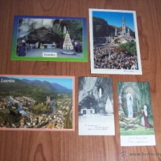Postales: LOTE DE 3 POSTALES Y 2 ESTAMPAS DE LOURDES (SIN CIRCULAR) . Lote 47947402