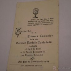 Postales: ANTIGUO RECORDATORIO 1ª COMUNION.PANTOJA CASTAÑEDA.SAN JUAN AZNALFARACHE.SEVILLA.1959.. Lote 48484984