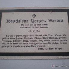 Postales: ESQUELA MORTUORIA, AÑOS 20, REUS, TARRAGONA. Lote 48546534