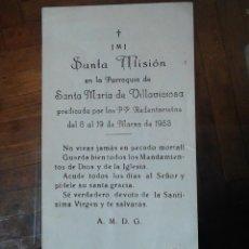 Postales: SANTA MISIÓN EN LA PARROQUIA DE VILLAICIOSA ASTURIAS 1953. Lote 48683455