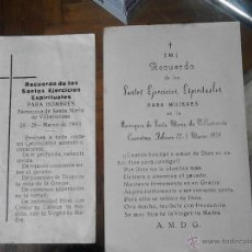 Postales: RECUERDO DE LOS SANTOS EJERCICIOS ESPIRITUALES PARA MUJERES- HOMBRE. Lote 48683533
