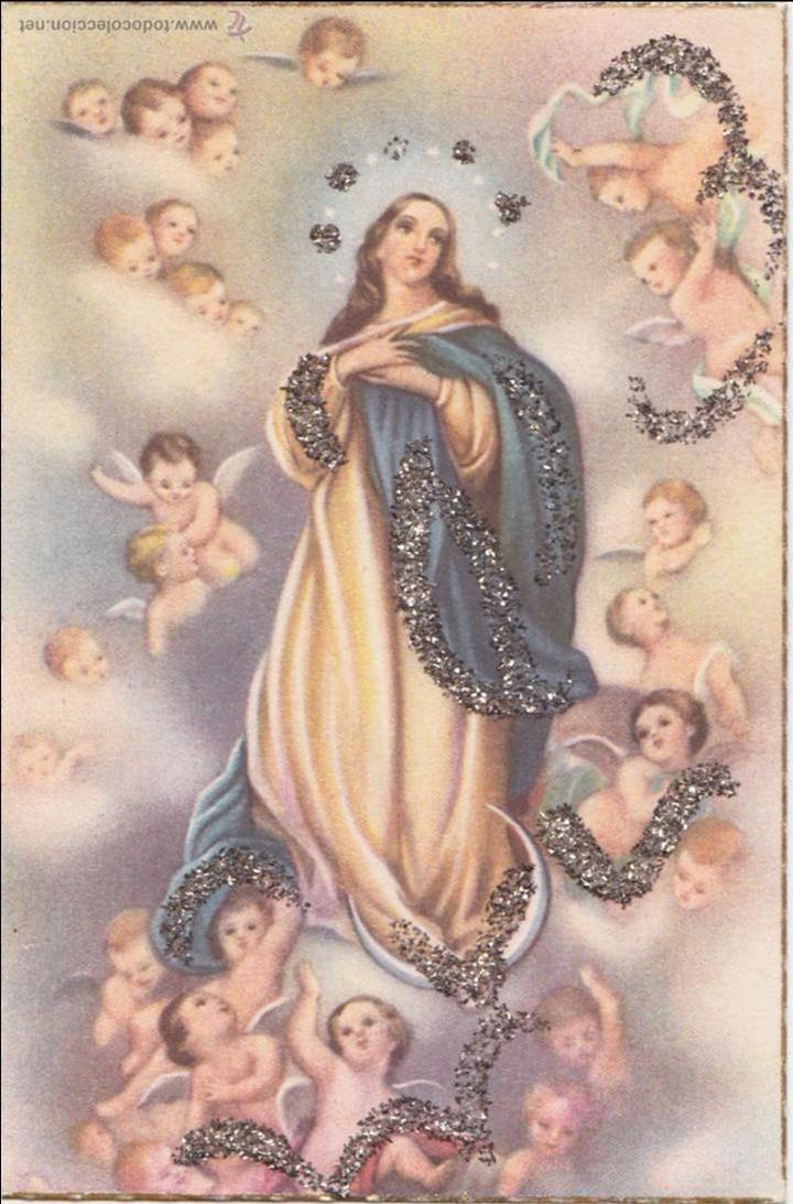 P 956 Postal Escena Ascension De La Virgen Coloreada Anos 40