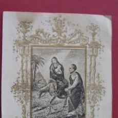 Postales: ESTAMPA LA FUITE EN EGYPTE .GRABADO . MARCO ROCOCÓ AL ORO. SIGLO XVIII . DIMINUTA Y RARA . . Lote 48909634