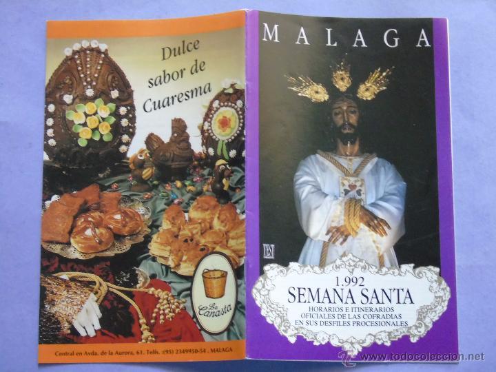 ITINERARIO HORARIOS DE LA SEMANA SANTA DE MÁLAGA AÑO 1992. JESÚS CAUTIVO. 1023 (Postales - Postales Temáticas - Religiosas y Recordatorios)