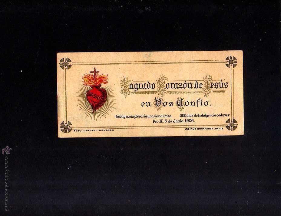 ESTAMPA RELIGIOSA. SAGRADO CORAZÓN DE JESÚS. 1906 . (Postales - Postales Temáticas - Religiosas y Recordatorios)