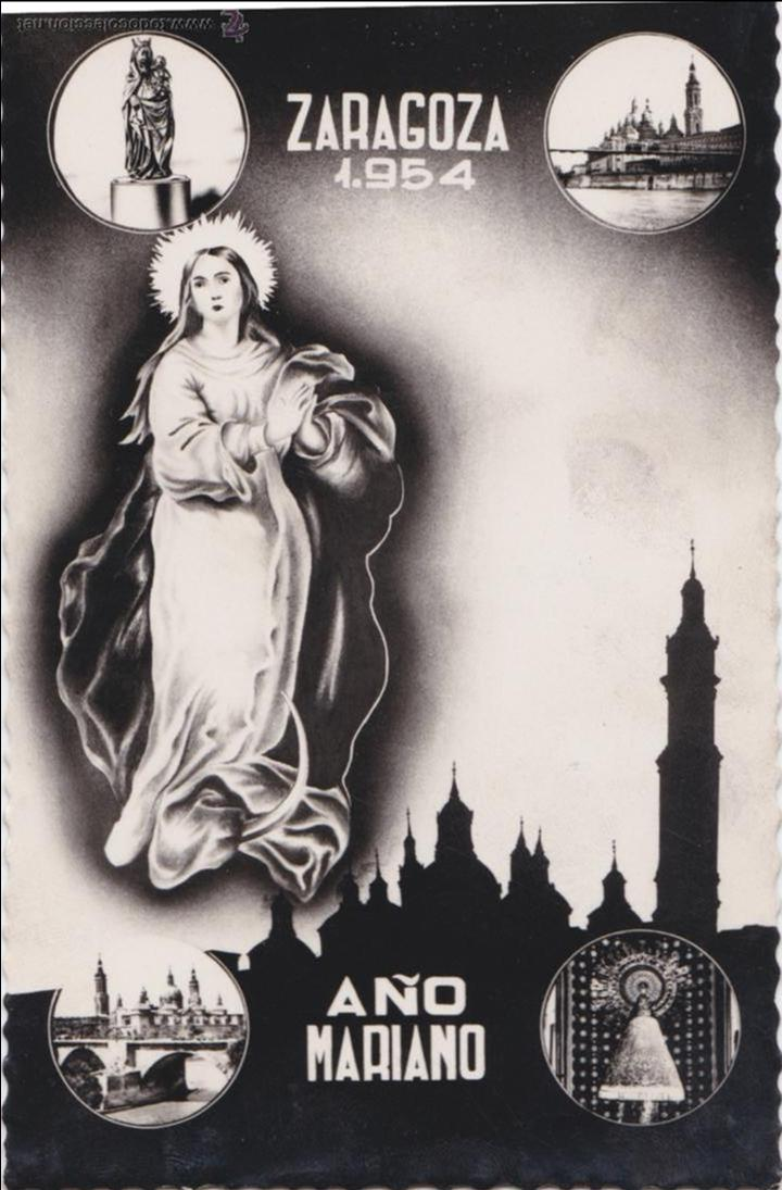 P- 1067. POSTAL ZARAGOZA 1954. AÑO MARIANO. (Postales - Postales Temáticas - Religiosas y Recordatorios)