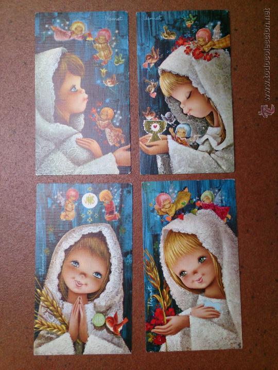LOTE 4 RECORDATORIOS COMUNIÓN VERNET (Postales - Postales Temáticas - Religiosas y Recordatorios)