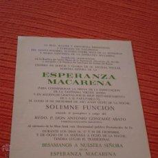 Postales: SOLEMNE FUNCION.BESAMANOS,ESPERANZA MACARENA.SEVILLA.1967. Lote 50029030
