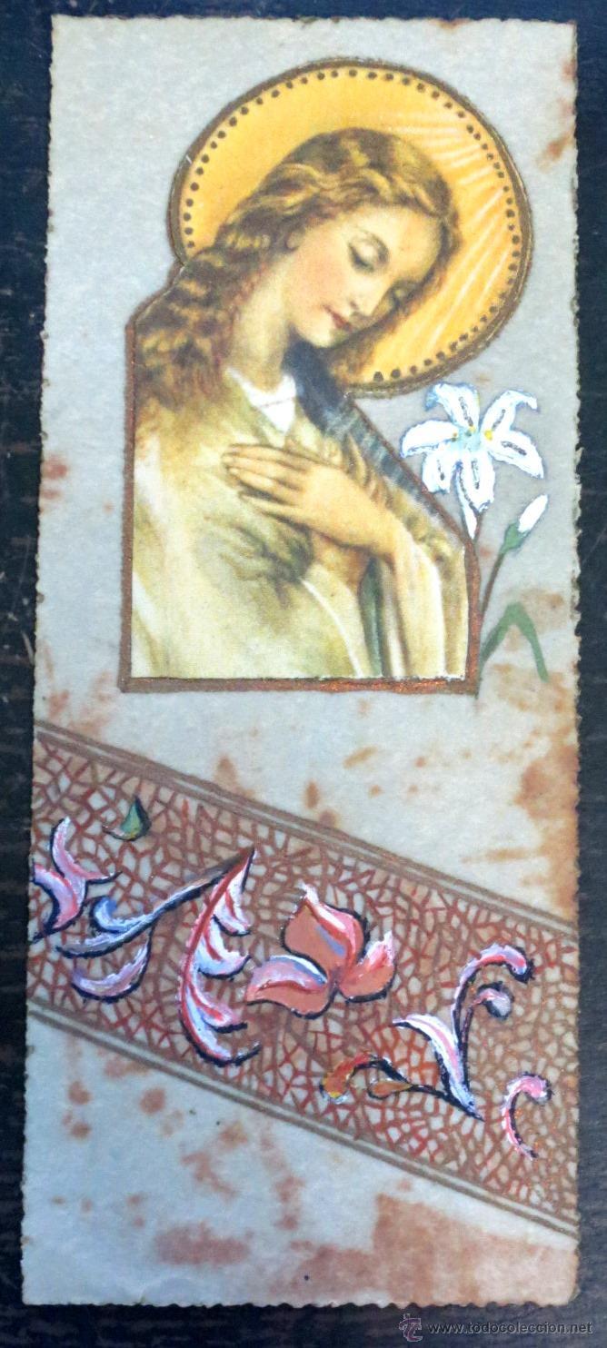 ESTAMPA RELIGIOSA VIRGEN PINTADA A MANO (Postales - Postales Temáticas - Religiosas y Recordatorios)