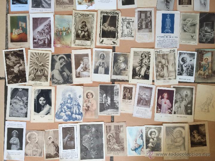 Postales: Lote de 50 estampas religiosas antiguas del niño jesús . santo cristo . estampa años 30-70 - Foto 3 - 50223352