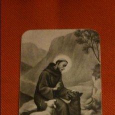 Postales: ESTAMPA RELIGIOSA ANTIGUA DE SAN FRANCISCO DE ASÍS. AÑOS 30-70 . PREDICANDO . JOVEN . LOBO DE GUIBO. Lote 131293570