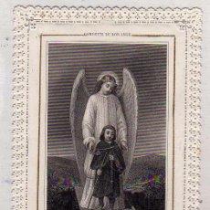 Postales: ESTAMPA DE PUNTILLA, ANGEL DE LA GUARDA. ORACIÓN EN EL REVERSO. BOUMARD PARIS. 13 X 8 CM. Lote 50339639