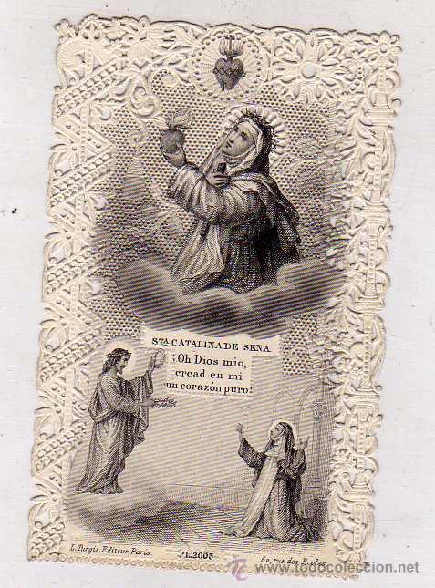 ESTAMPA DE PUNTILLA, SANTA CATALINA DE SENA O SIENA. (Postales - Postales Temáticas - Religiosas y Recordatorios)