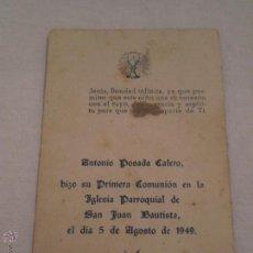 Postales: RECUERDO 1ª COMUNION.ANTONIO POSADA CALERO.LA PALMA DEL CONDADO.HUELVA.1949. Lote 50347011