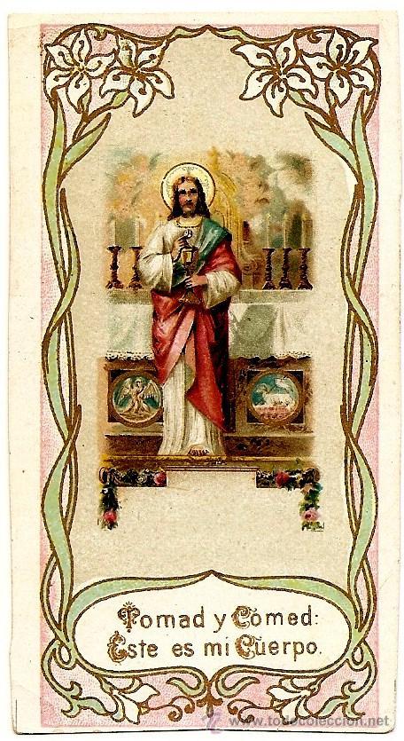 BONITO RECORDATORIO DE COMUNIÓN PRINCIPIOS SIGLO XX - SIN IMPRIMIR (Postales - Postales Temáticas - Religiosas y Recordatorios)