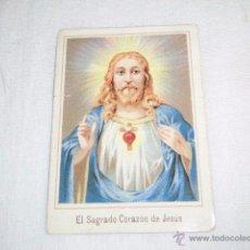 Postales: ESTAMPA RELIGIOSA SAGRADO CORAZON DE JESUS.PUBLICIDAD FABRICA DE CHOCOLATES H.GRANELL ASTORGA. Lote 50754267