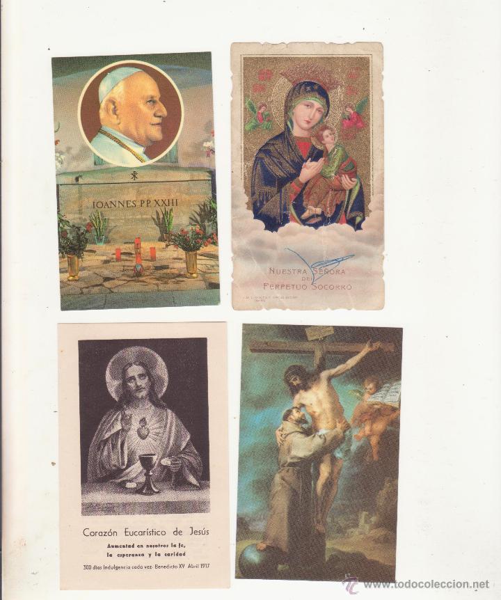 LOTE DE 4 ANTIGUAS ESTAMPAS RELIGIOSAS (Postales - Postales Temáticas - Religiosas y Recordatorios)