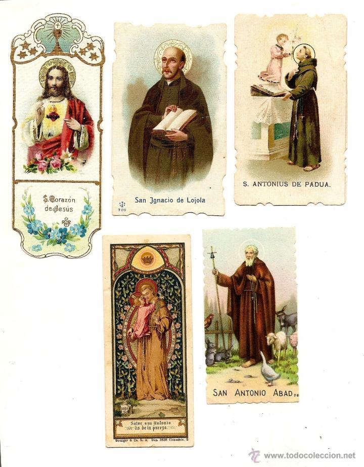 LOTE DE 5 RECORDATORIOS SANTOS - SAN IGNACIO, SAN ANTONIO PADUA, SAN ANTONIO ABAB Y CORAZÓN DE JESÚS (Postales - Postales Temáticas - Religiosas y Recordatorios)