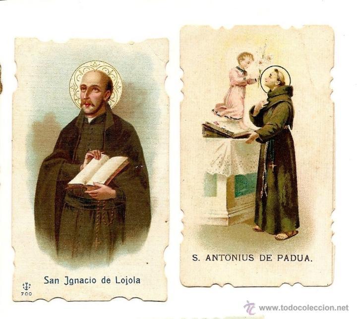 Postales: LOTE DE 5 RECORDATORIOS SANTOS - SAN IGNACIO, SAN ANTONIO PADUA, SAN ANTONIO ABAB Y CORAZÓN DE JESÚS - Foto 2 - 50965949