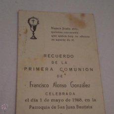 Postales: RECUERDO 1ª COMUNION.FRANCISCO ALONSO GONZALEZ.SAN JUAN AZNALFARACHE,SEVILLA.1968. Lote 51144662