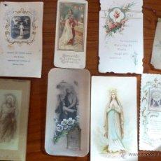 Postales: 8 ANTIGUO RECORDATORIO ESTAMPA RELIGIOSO FORMATOS 3 CELULOIDE MARCO CRISTAL 1 TROQUELADA 1918. Lote 51345088