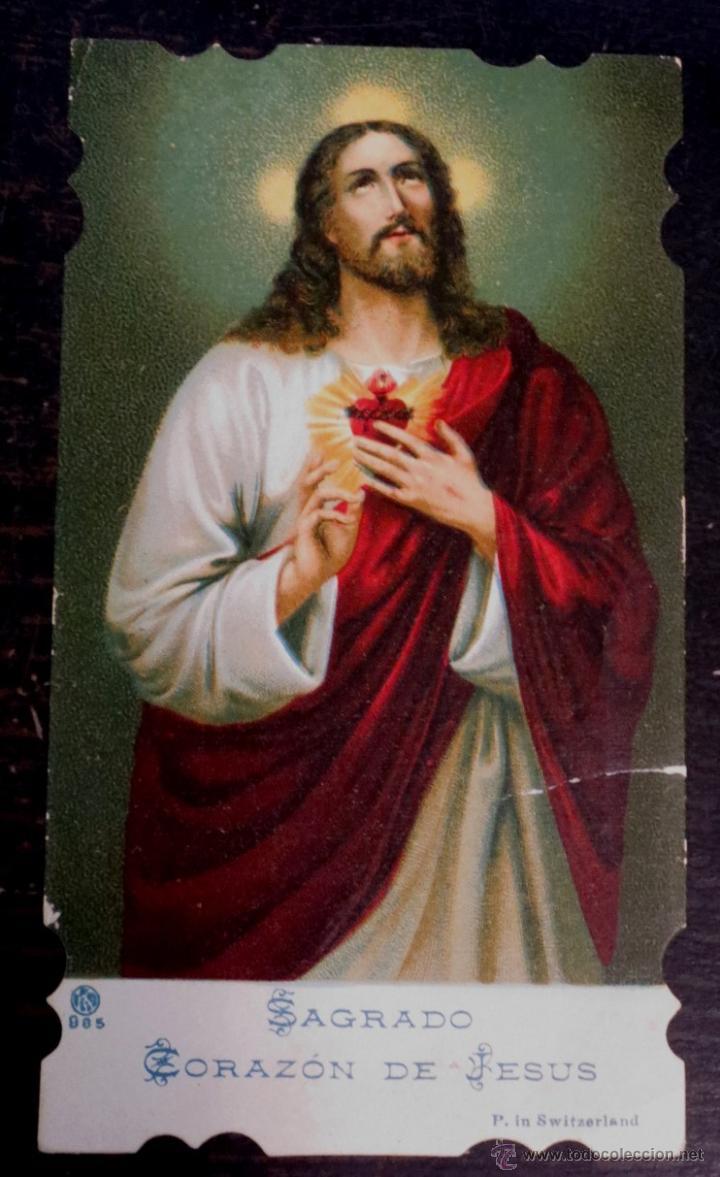 ESTAMPA RELIGIOSA TROQUELADA SAGRADO CORAZÓN DE JESÚS (Postales - Postales Temáticas - Religiosas y Recordatorios)