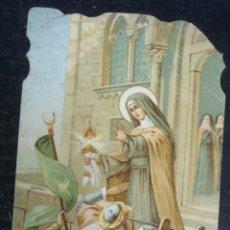Postales: ESTAMPA RELIGIOSA TROQUELADA SANTA CLARA DE ASÍS. Lote 51424672