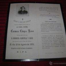 Postales: RECORDATORIO DE DEFUNCIÓN CON FOTOGRAFIA. AÑO 1909. Lote 51525671