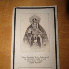 Postales: ANTIGUA ESQUELA RECORDATORIO - VIRGEN SANTISIMA DE LOS DOLORES - ISLA CRISTINA - 1918. Lote 52522145