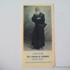 Postales: ESTAMPA RELIGIOSA CON RELIQUIA FRAY LEOPOLDO DE ALPANDEIRE 1985. Lote 52525489