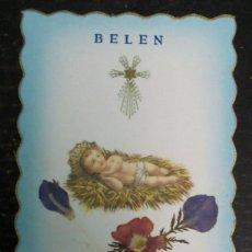 Postales: ESTAMPA RELIGIOSA TROQUELADA BELÉN FLORES DE TIERRA SANTA. Lote 53257684